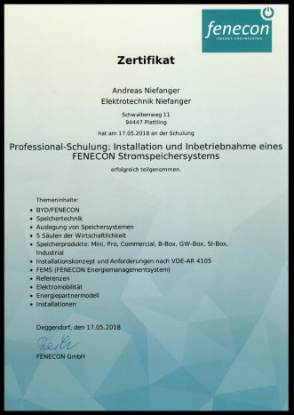 Elektrotechnik Niefanger  AktuellesProjekte