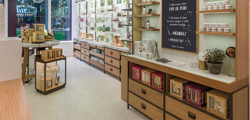 meuble sur mesure pour boutique caudalie