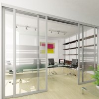 Sliding office doors and panels features aluminum frame