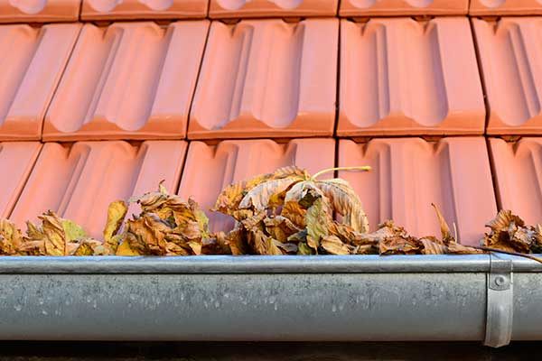 Gutters needing cleaning in Pleasanton, CA, soon to be serviced by Element Roofing.