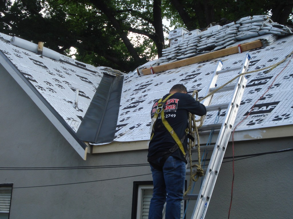 Element Roofing Pleasanton worker on a ladder preforming an installation
