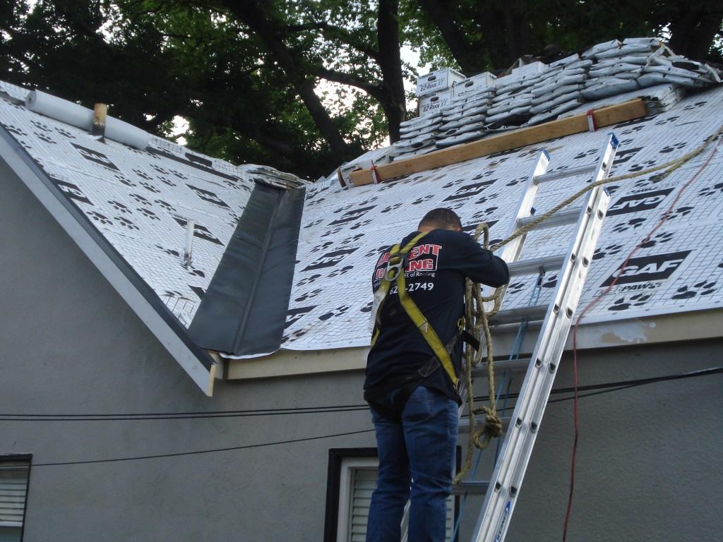 Element Roofing Pleasanton worker on a ladder preforming an installation