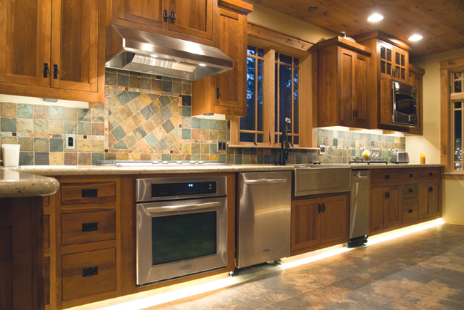 kitchen cabinet lighting ideas black round table two kitchens four elemental led with strip lights