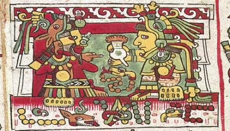Mit einer Tasse Kakao wirbt der mixtekische Prinz Jaguarkralle um seine Braut. Aus dem Codex Nutall.