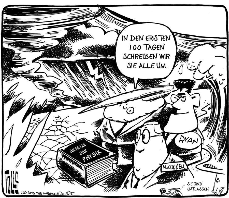 Cartoon Toles Gesetze der Physik