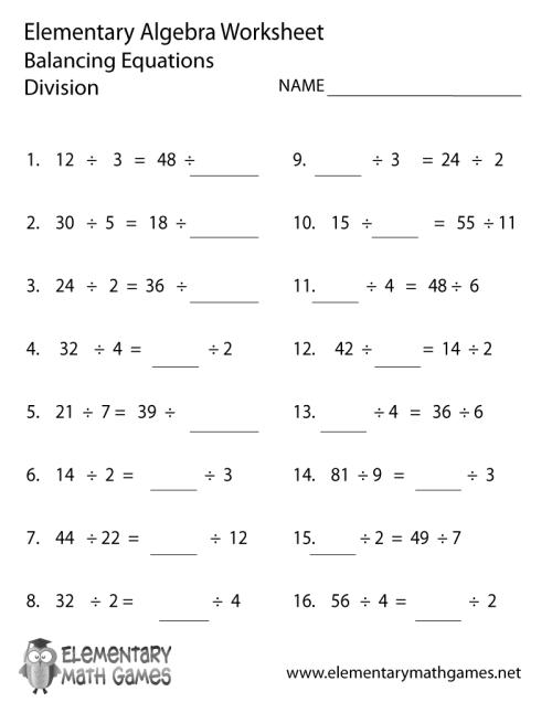 small resolution of Elementary Algebra Division Worksheet