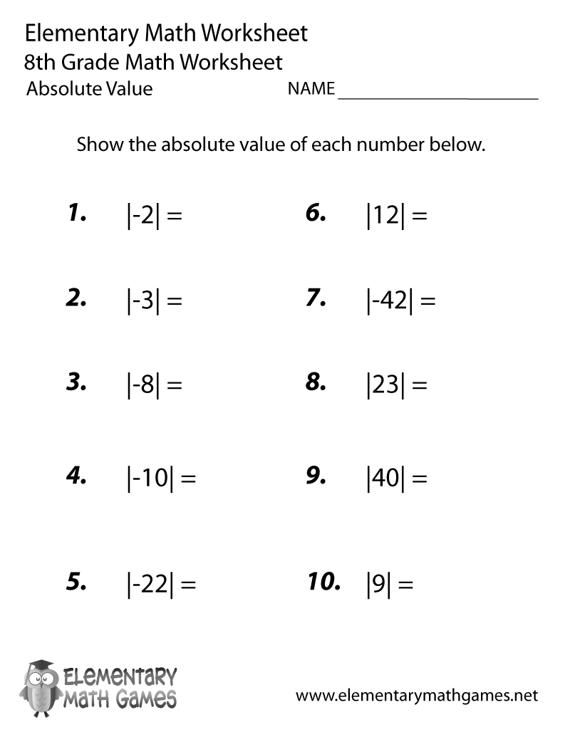 hight resolution of Eighth Grade Absolute Value Worksheet