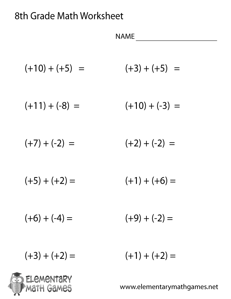 medium resolution of Eighth Grade Addition Worksheet