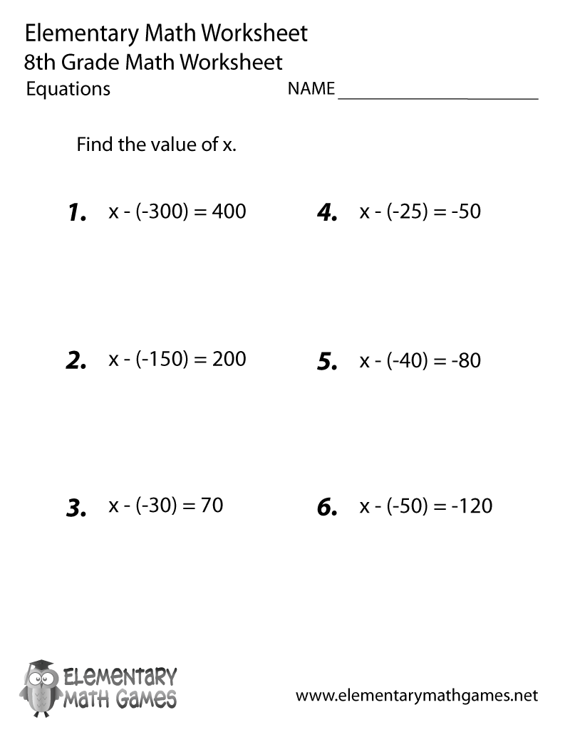 hight resolution of Eighth Grade Equations Worksheet