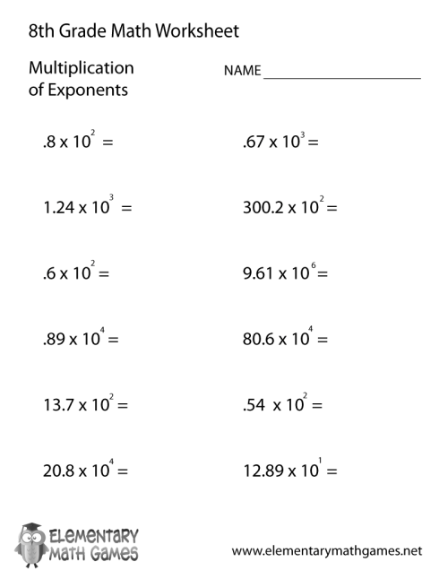 small resolution of Eighth Grade Multiplication of Exponents Worksheet
