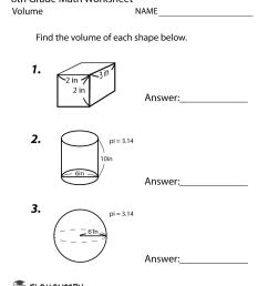 Free Printable Volume Worksheet for Eighth Grade [ 1035 x 800 Pixel ]