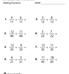 Free Printable Adding Fractions Worksheet for Fifth Grade [ 1035 x 800 Pixel ]