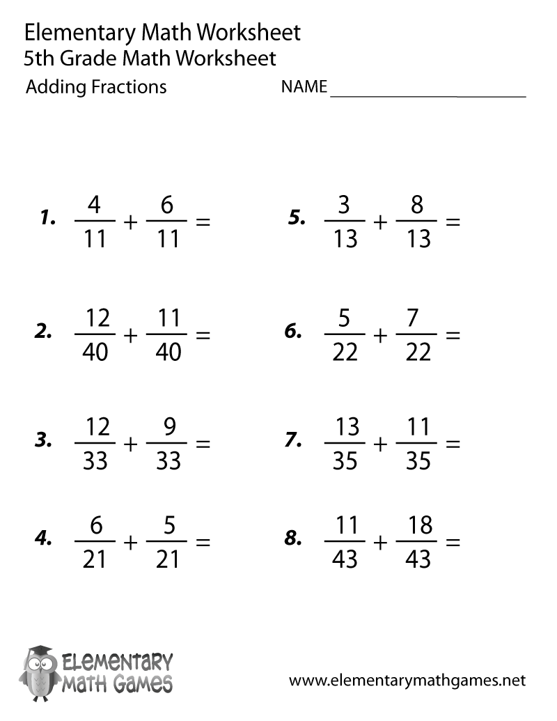 medium resolution of Fifth Grade Adding Fractions Worksheet