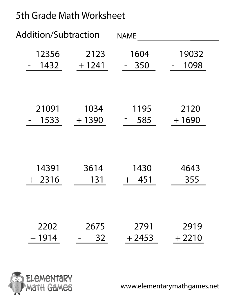 hight resolution of Fifth Grade Arithmetic Worksheet