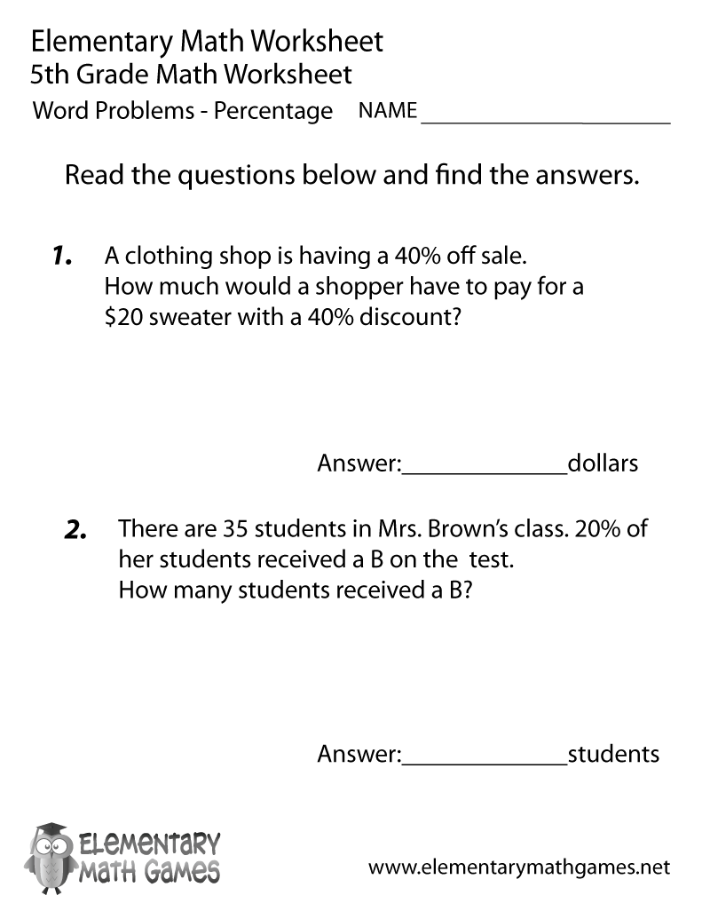 medium resolution of Fifth Grade Percentage Word Problems Worksheet