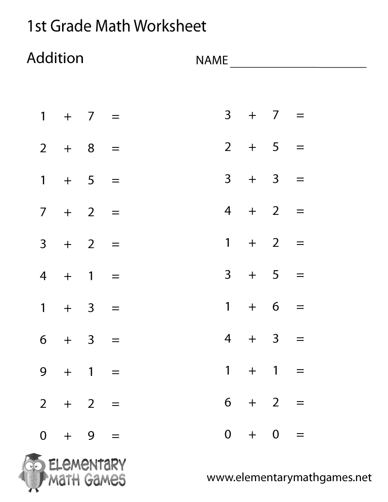 hight resolution of First Grade Simple Addition Worksheet