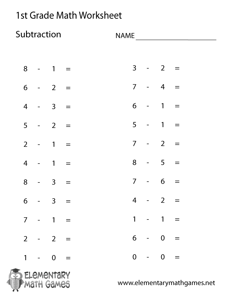 medium resolution of First Grade Subtraction Worksheet
