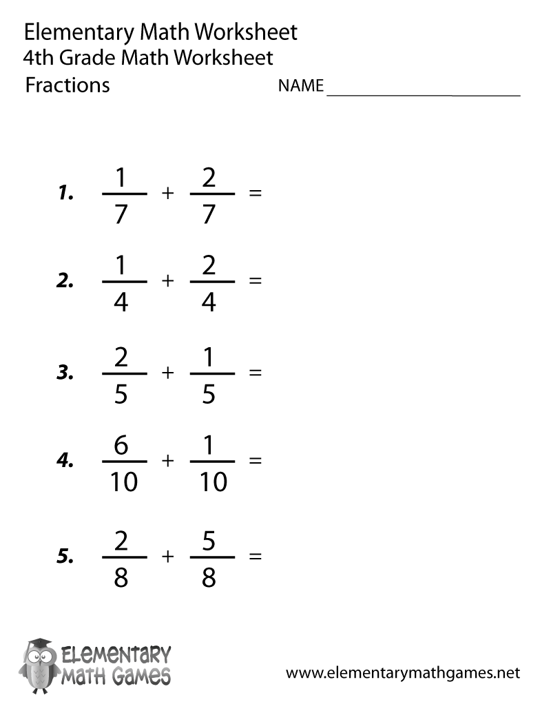 hight resolution of Fourth Grade Adding Fractions Worksheet