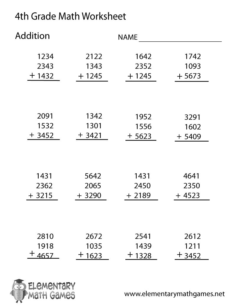 Fourth Grade Addition Worksheet