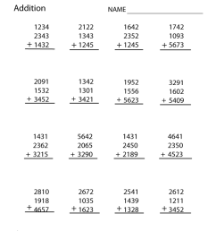Fourth Grade Addition Worksheet [ 1035 x 800 Pixel ]