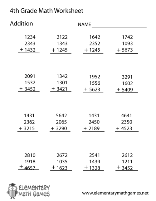small resolution of Fourth Grade Addition Worksheet