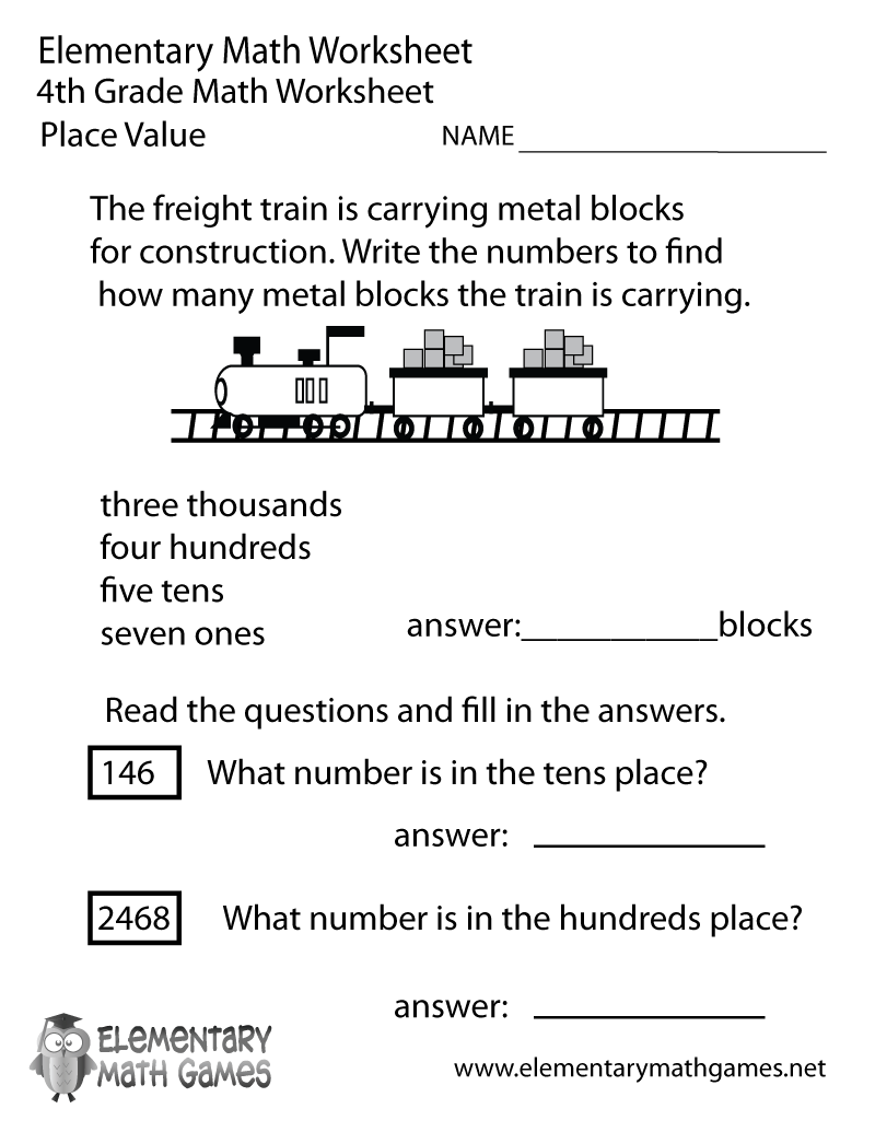 hight resolution of Fourth Grade Place Value Worksheet
