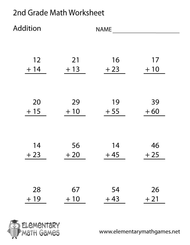 medium resolution of Second Grade Addition Worksheet