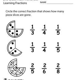 Second Grade Learning Fractions Worksheet [ 1035 x 800 Pixel ]