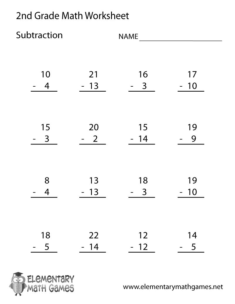 medium resolution of Second Grade Subtraction Worksheet