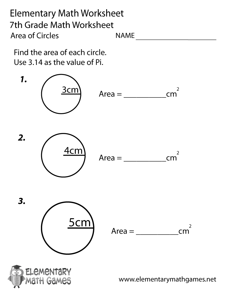 medium resolution of Seventh Grade Area of Circles Worksheet