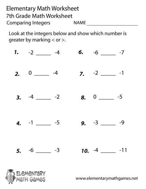 small resolution of Seventh Grade Comparing Integers Worksheet