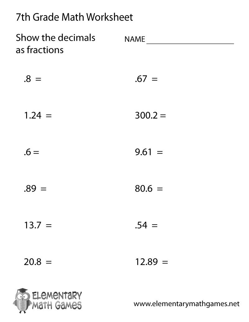 medium resolution of Seventh Grade Decimals Worksheet