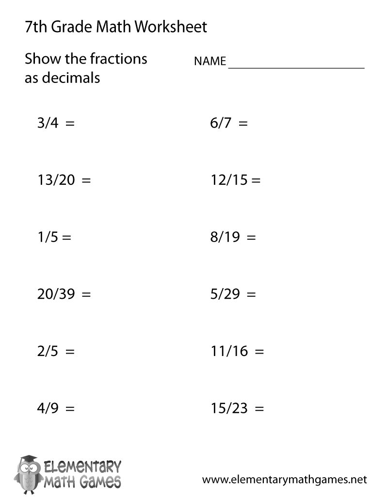 hight resolution of Free Printable Fractions and Decimals Worksheet for Seventh Grade