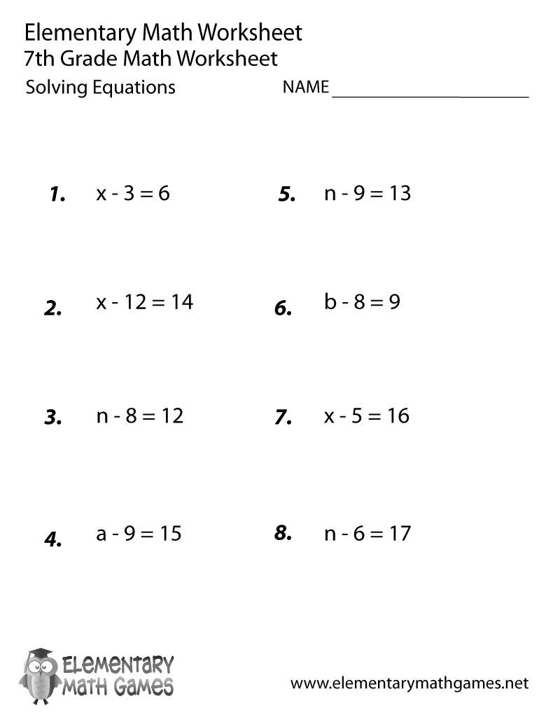hight resolution of Seventh Grade Solving Equations Worksheet