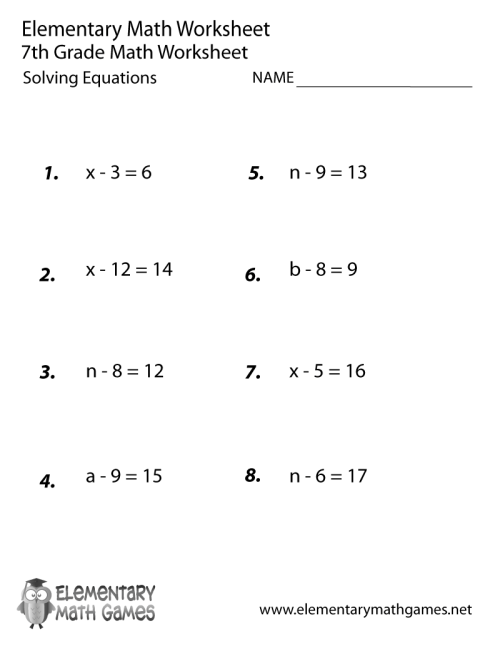 small resolution of Seventh Grade Solving Equations Worksheet