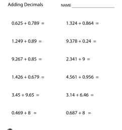 Free Printable Adding Decimals Worksheet for Sixth Grade [ 1035 x 800 Pixel ]