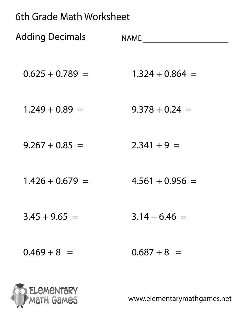 medium resolution of Free Printable Adding Decimals Worksheet for Sixth Grade