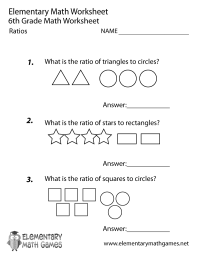 Sixth Grade Ratios Worksheet