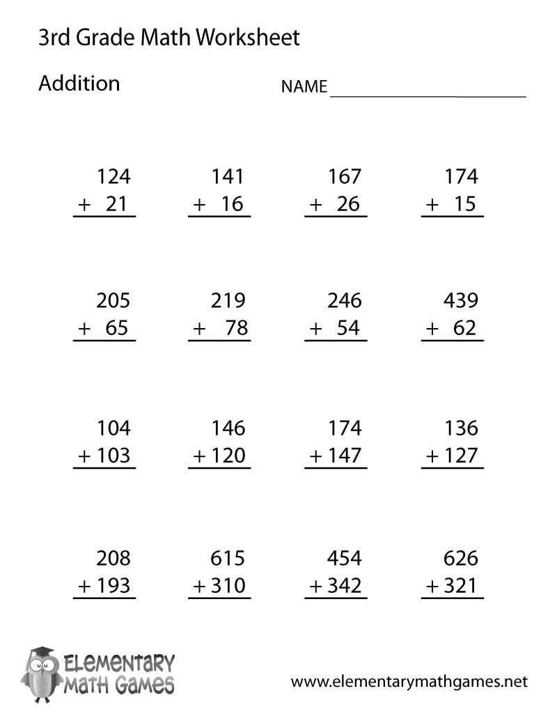 medium resolution of Third Grade Addition Worksheet