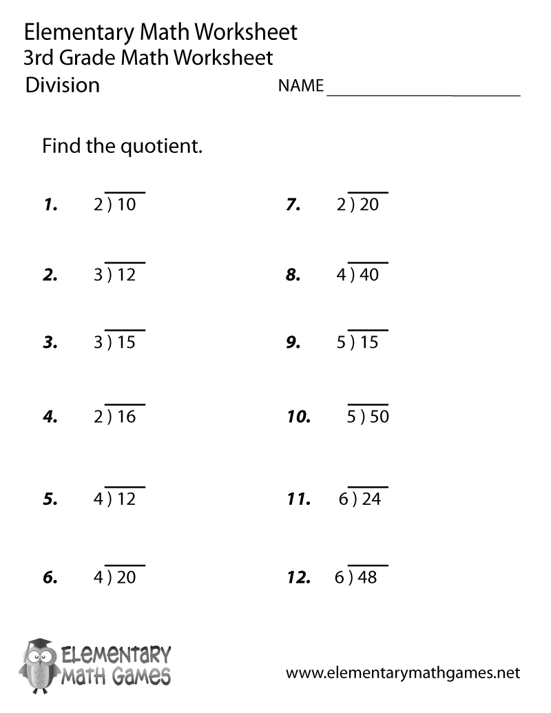 medium resolution of Third Grade Division Worksheet