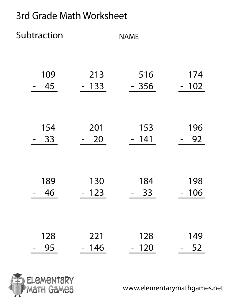 medium resolution of Free Printable Subtraction Worksheet for Third Grade