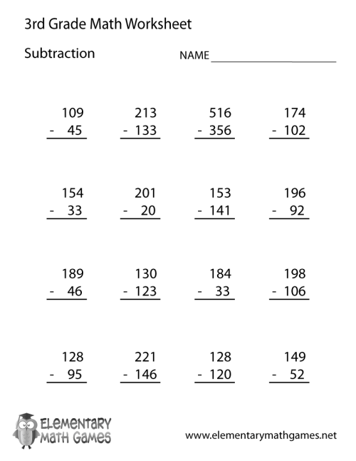 small resolution of Free Printable Subtraction Worksheet for Third Grade