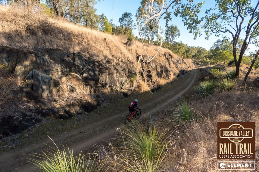 Riders enjoying the unique aspects of the Brisbane Valley Rail Trail.
