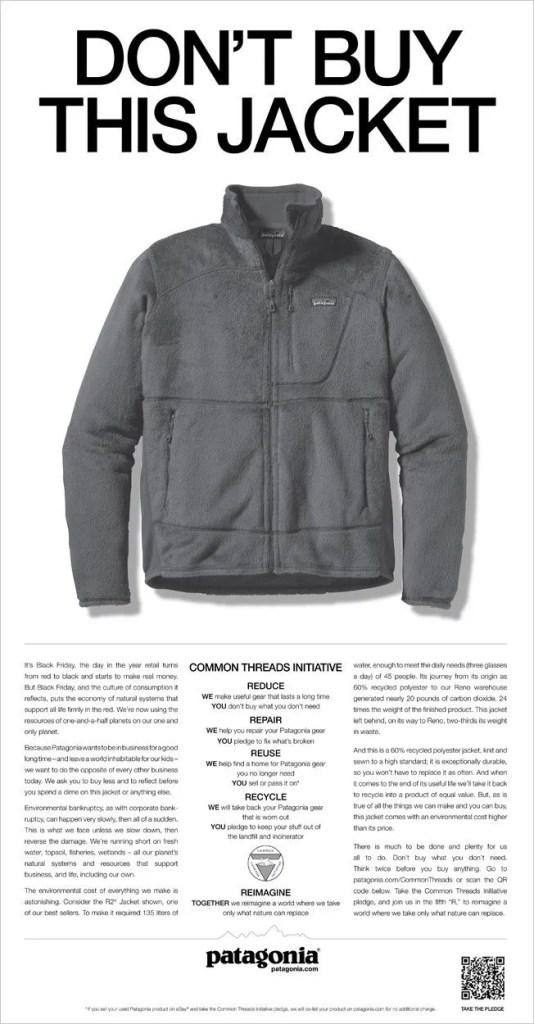 Patagonia Don't Buy this Jacket advert