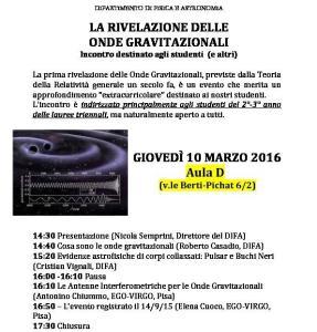 La rivelazione delle Onde Gravitazionali. Dipartimento di Fisica ed Astronomia a Bologna