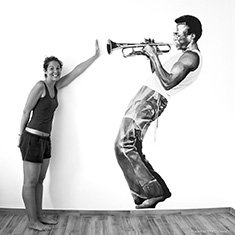 Elena Mantovan's wall painting of Miles Davis playing trumpet