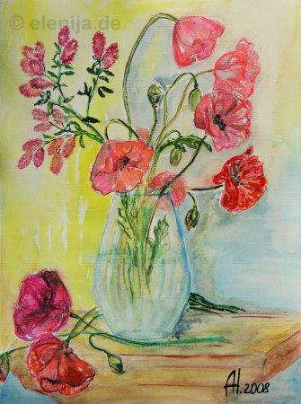 Vase mit Mohnblumen