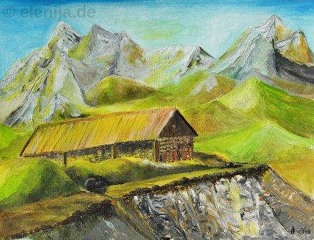 Haus in den Alpen, von Elenija
