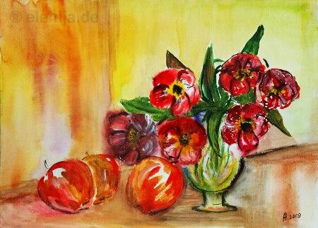 Äpfel Und Frühlingsblumen