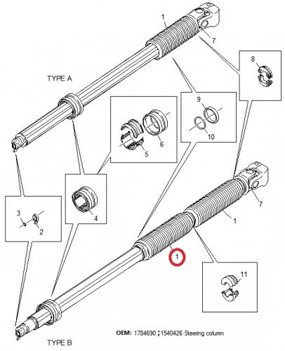 Кормилен прът от Скания R420 2009 г. OEM: 1784690 1540426